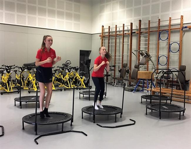 South Bromsgrove High students 14-year old Isabelle Lawrence and Mia Wainwright put the trampolines to the test.