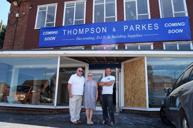 Thompson and Parkes directors Gary Wells, Jean Morris and general manager Gary Watts at the new shop opening in Stourport