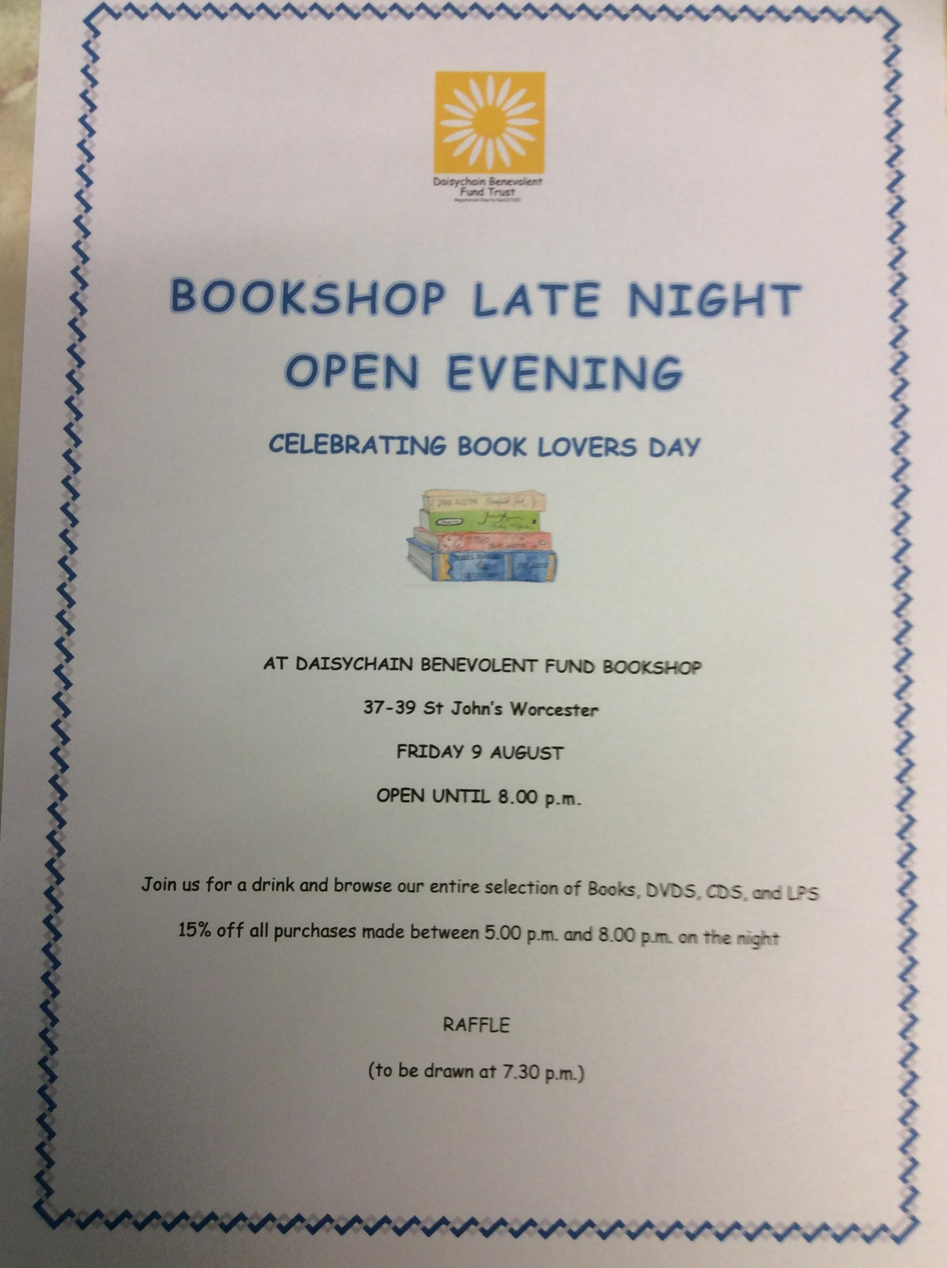Bookshop late night opening