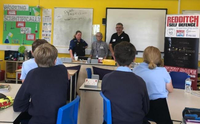 Young pupils being taught about knife crime. PCSO Joanne Evans, councillor Margaret Sherry, and Pete Martin