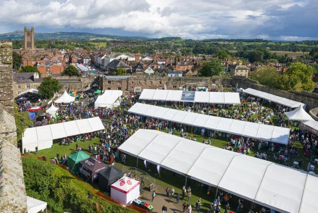 The 2017 Ludlow Food Festival seen from the great tower.