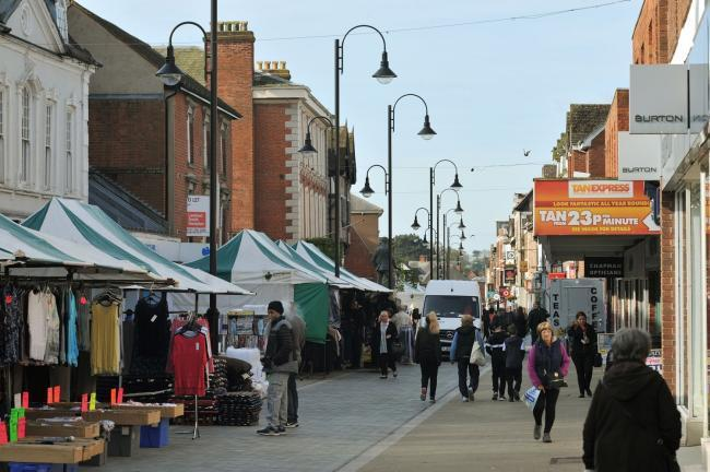 The market in Bromsgrove High Street