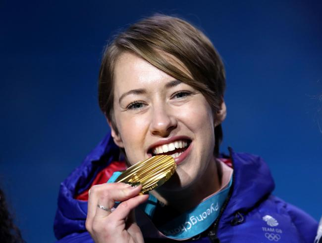 File photo dated 18-02-2018 of Great Britain's Lizzy Yarnold poses with her gold medal. PRESS ASSOCIATION Photo. Issue date: Tuesday October 16, 2018. Two-time Olympic champion Lizzy Yarnold will remain outspoken about anti-doping following her retire