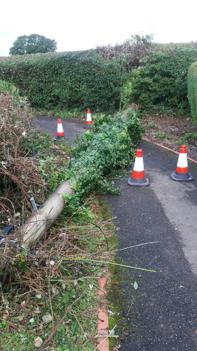 The pole blocking the way to Courts Close bungalows in Hanbury