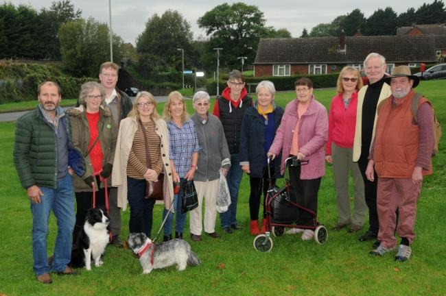 All smiles............From left Cllr Richard Huffer, Christina and Ryan O'Neill with Mika, Cllr Tracey Huffer, Jenny Davies and Hollie, Frances Evans, Victoria Allen, Jane Cullen, Agnes Teale, Peta Sams, The Mayor of Ludlow Cllr Tim Gill and Cllr Andy