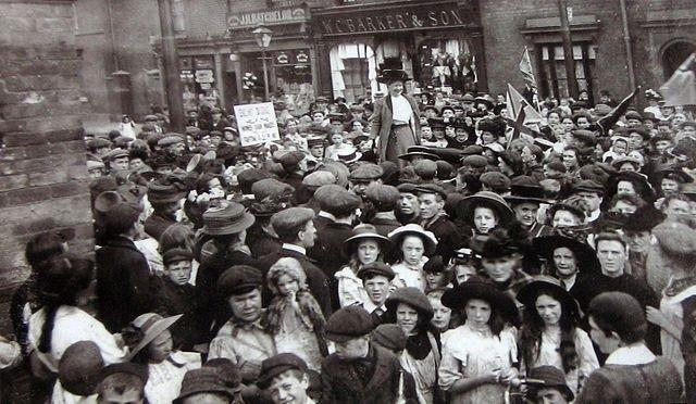 Mary Macarthur addressing the crowds during the chain makers' strike in Cradley Heath in 1910