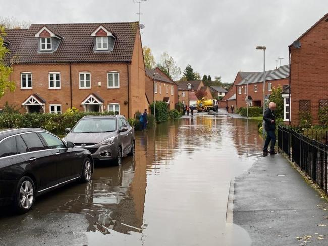 Michael Cadman, of Hereford and Worcester Fire Service, tweeted this photo of a flooded street