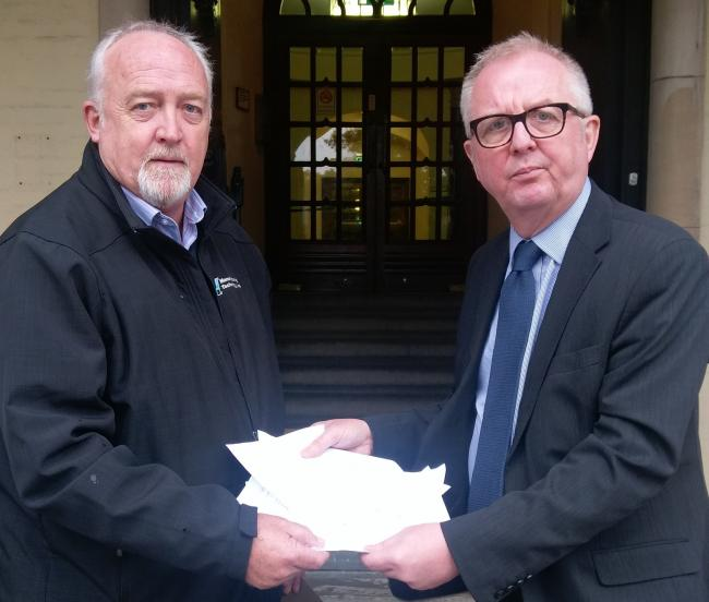 Steve Marr with Ian Austin MP outside Dudley Council house.