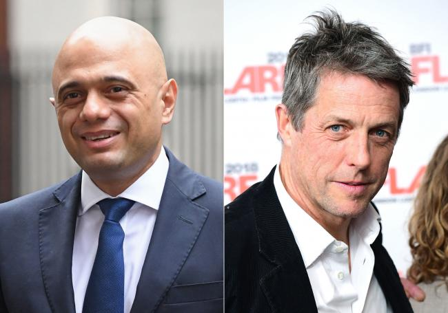 Sajid Javid and Hugh Grant have not seen eye to eye. Picture: PA.