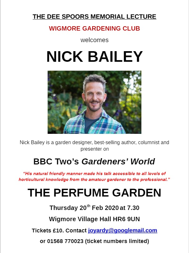 Nick Bailey comes to Wigmore Gardening Club