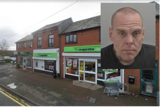 Mark Congrave (picture West Mercia Police) admitted attempted robbery at the Co-op in Evesham Road, Crabbs Cross, Redditch (google maps)