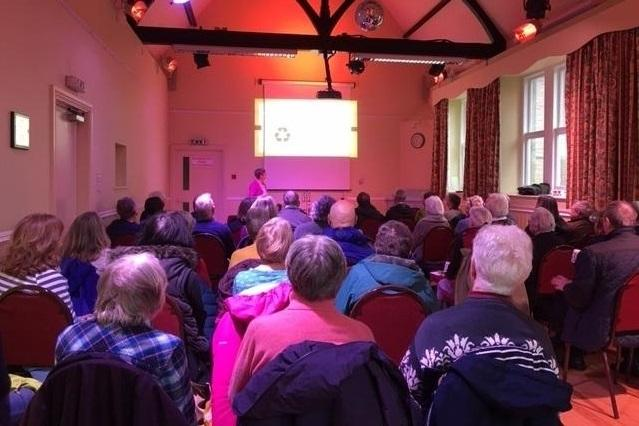 The Climate Emergency event was well attended, even as Linton Village Hall was battered by the storm