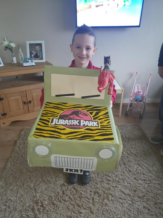 Jurassic park book in a box for world book day. Jayden age 7 made the jeep from cardboard all hand made with his nan and grandad.
