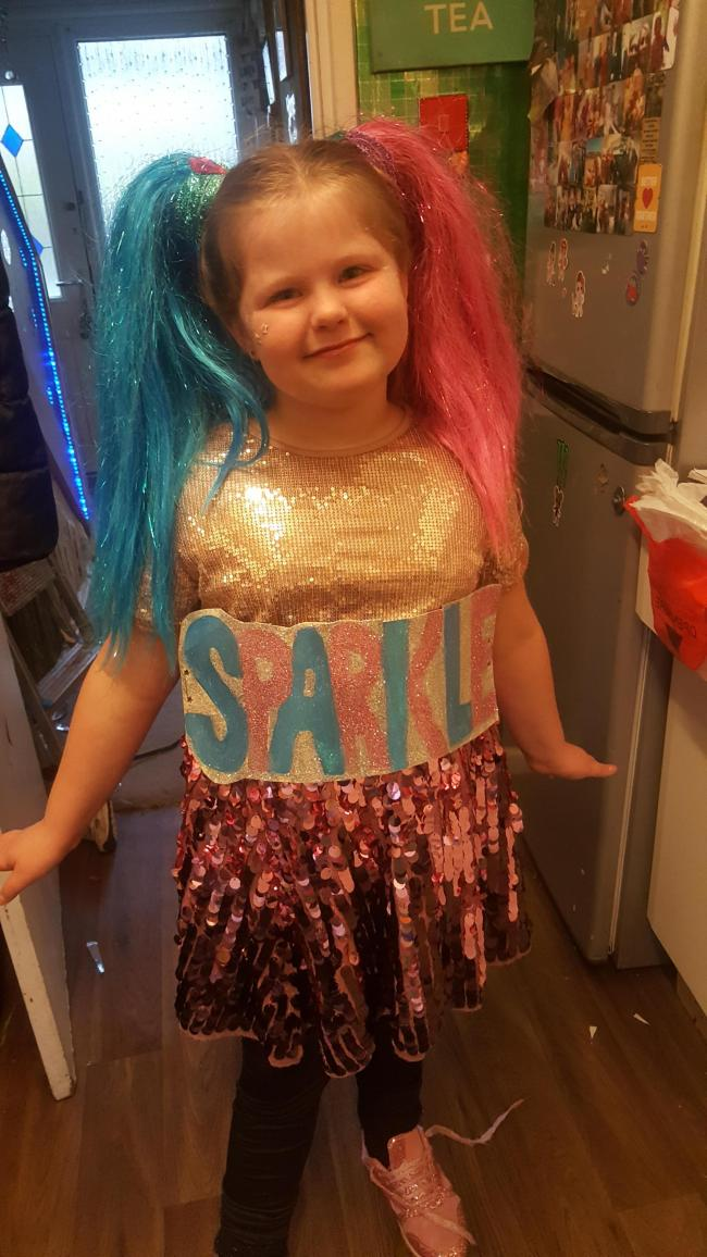 Charford school dress as a word Courtney's word SPARKLE