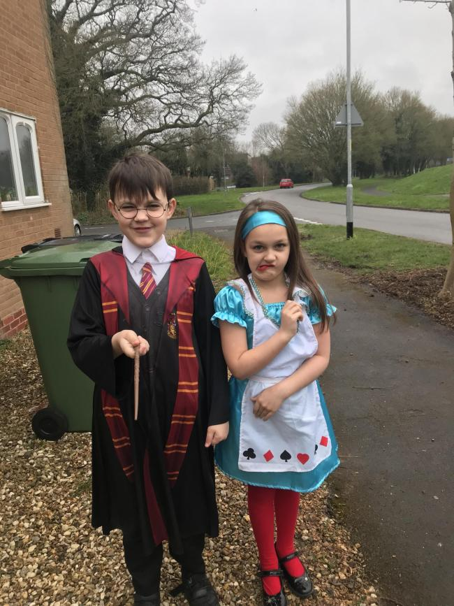 Kyle 10 and Georgie-Mae 7 as Harry Potter and Alice in wonderland