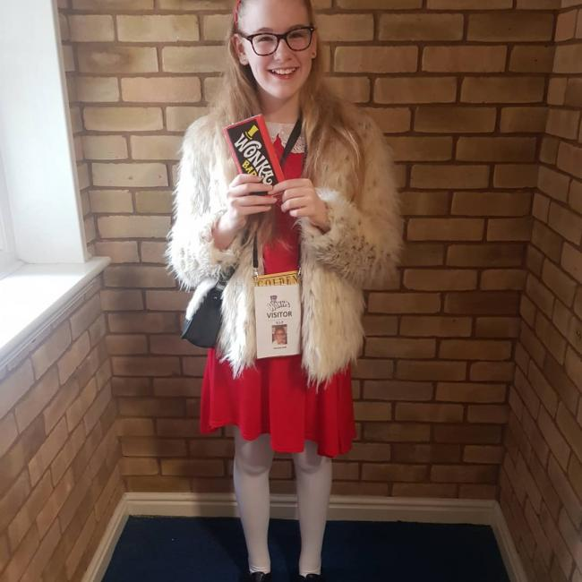Megan Jarvis aged 11 Dressed as Veruca Salt from Charlie and the Chocolate Factory.
