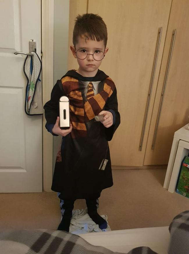 Casey Fox, 6 yrs, St Catherines (marlpool) as Harry potter.
