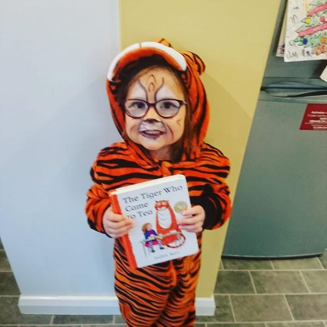 Matilda, age 5. From St Catherine's Primary School. Dressed as The Tiger Who Came To Tea.