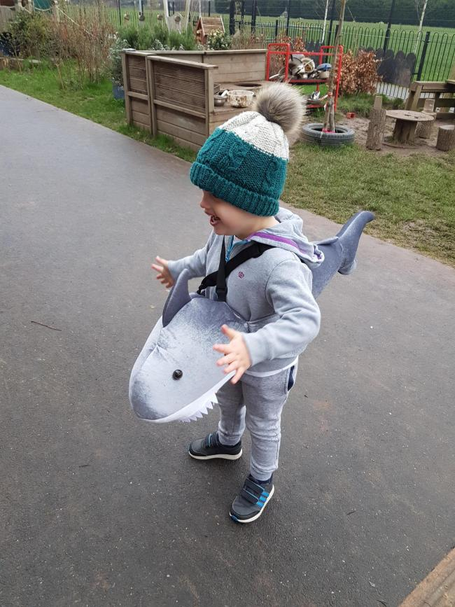 Jacob age 4 dressed as shark in the park