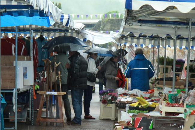 Shoppers at Ludlow Market got a soaking on Saturday got Monday itself was brighter.