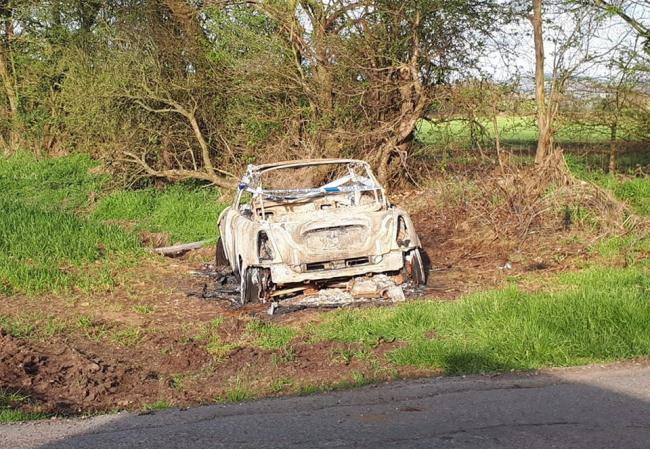 The Mini Cooper convertible was found burnt out Axborough Lane, Kidderminster