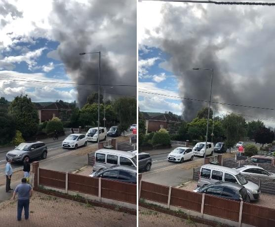 Clouds of black smoke were seen in the Bewdley Road North area of Stourport. Photos of video by Chris Draper