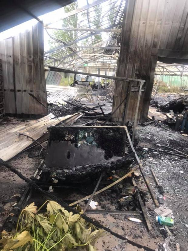 Bromsgrove Advertiser: A glasshouse was destroyed in the fire