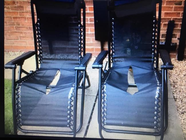 The sun loungers which had been given to an elderly Belbroughton couple for their wedding anniversary which were left ripped and ruined