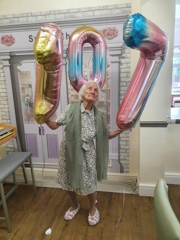 Bromsgrove Advertiser: Daisy Kench on her 107th birthday on June 9 this year