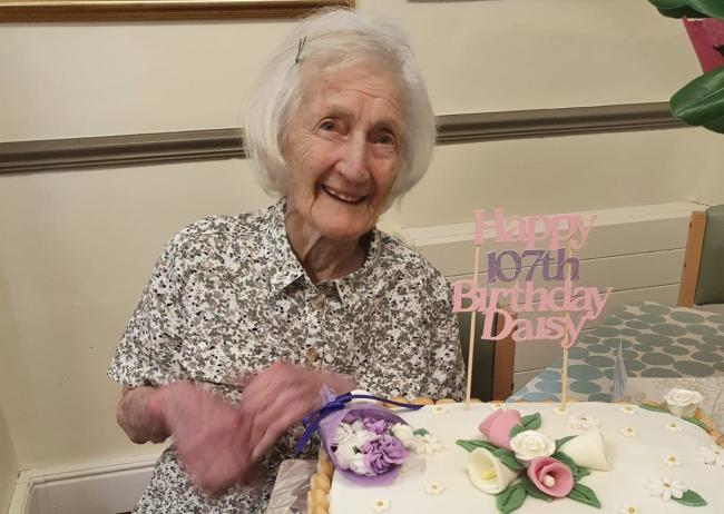 Daisy Kench on her 107th birthday earlier this month
