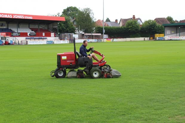 The pitch at Bromsgrove Sporting's Victoria Ground.