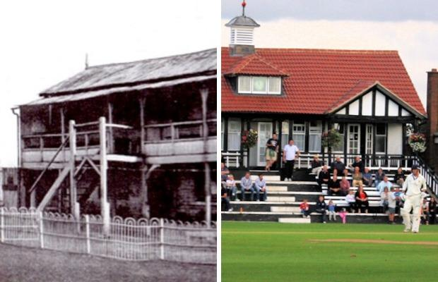 The original pavilion (left) and the modern day (right)