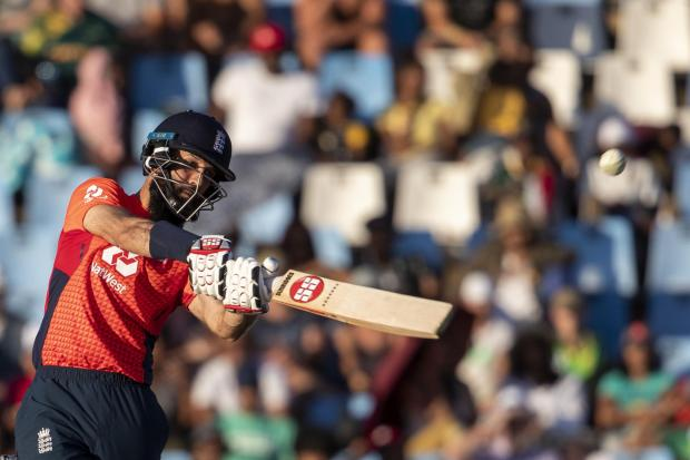 BACK: Moeen Ali in action during England's tour of South Africa. Pic. AP Photo/Themba Hadebe.
