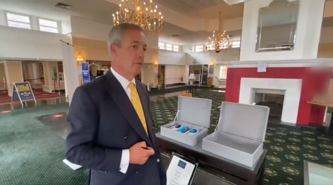 Nigel Farage inside the Britannia Hotel and Spa on his visit to Bromsgrove.