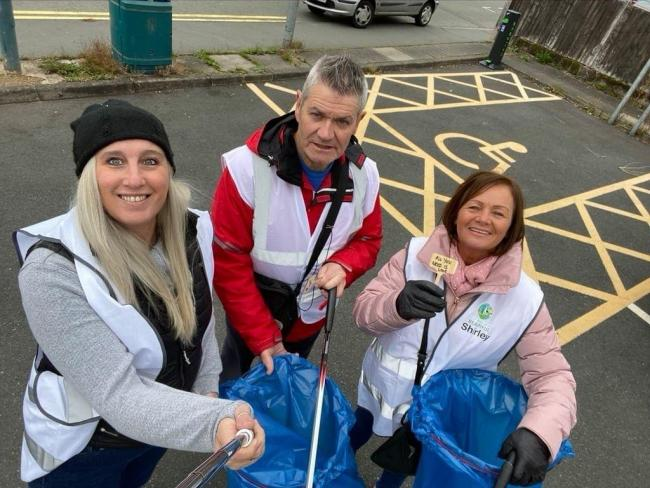 Councillor Shirley Webb (right) with fellow litter pick volunteers.