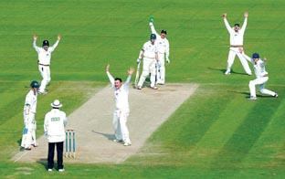 OWZAT: Durham left-arm spinner Ian Blackwell celebrates taking the wicket of Worcestershire opening batsman James Cameron during the LV= County Championship Division One