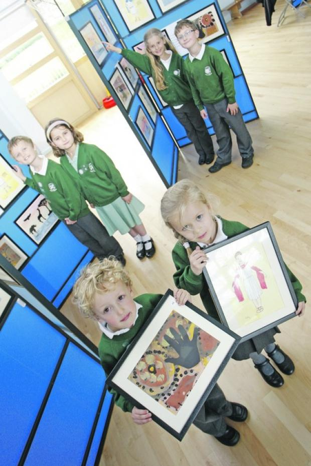 Getting arty: Youngsters from Fairfield First School saw their work go on display in an art gallery in the school hall. Buy this photo BCR191203a