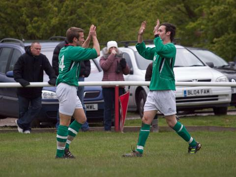 Keith Draper congratulates Jon Rogers (left) on his equaliser