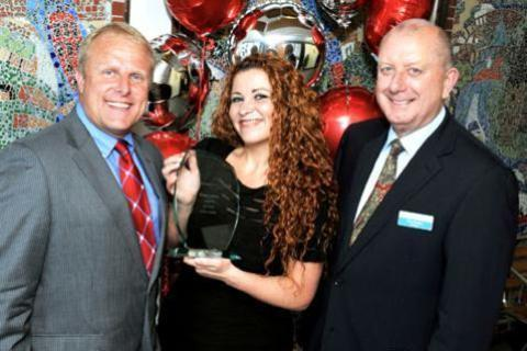 Honour: BBC Hereford and Worcester presenter Howard Bentham with award-winner Helen Istifan and Worcestershire NHS Health and Care Trust chairman Chris Burdon.