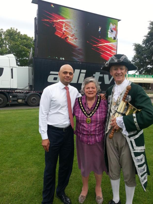 Olympic celebrations at Sanders Park: Sajid Javid MP, Councillor Janice Boswell, and town crier Kevin Ward.