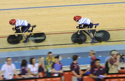 Heartbreak: Jess Varnish and Victoria Pendleton were disqualified in the team sprint at the London Velodrome.