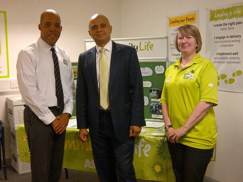 Store manager Nigel Palmer, Sajid Javid MP and community life representative Dawn Baylis