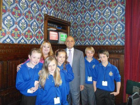 Sajid Javid MP with Matchborough councillor Juliet Brunner and youngsters from Matchborough Youth Forum