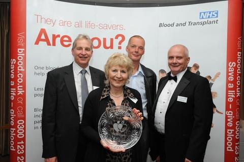 Chris Jewson, Kathleen Green, Chris Harvey and Malcolm Collins celebrate their life-saving achievements.