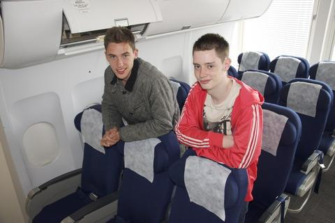 All aboard. Travel and tourism students Jack Trow and Jack Cole