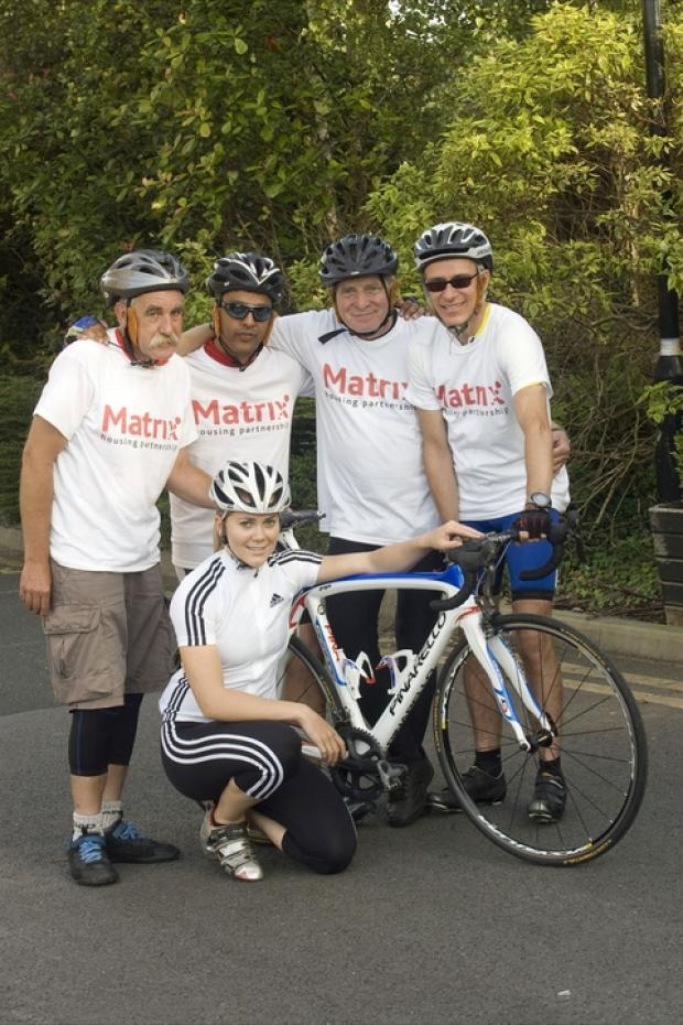 Charity ride: Olympic cyclist Jess Varnish with members of Team Matrix Mike Pritty, Keith Jervis and Anil Farmah. Ref:s