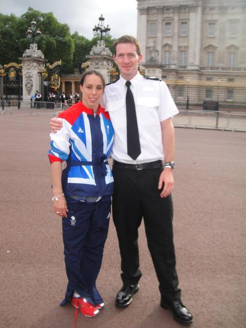 Olympian: Beth Tweddle, Olympic Bronze medalist, with PC Sadler, who was randomly selected to attend the parade. Ref:s