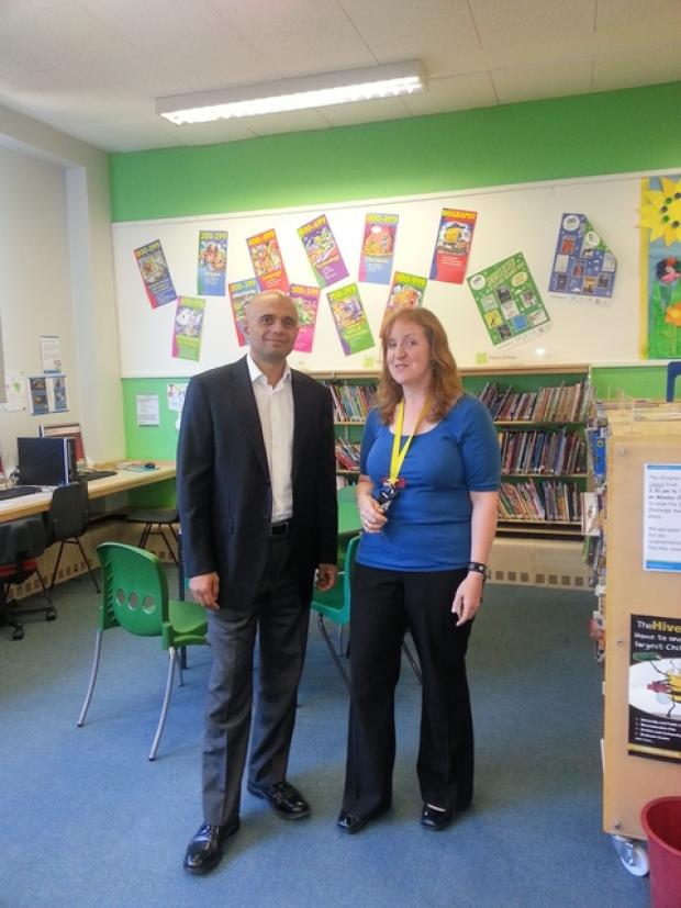 Library tour: Bromsgrove MP Sajid Javid was given a tour of Bromsgrove Library by Abigail Williams, the library's manager.