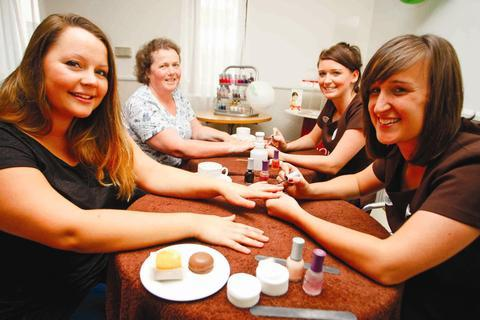 Pampering for a good cause: Becky Senior, Jane Cadman, Kim McCann and Natalie Bagnall at the Holiday Inn