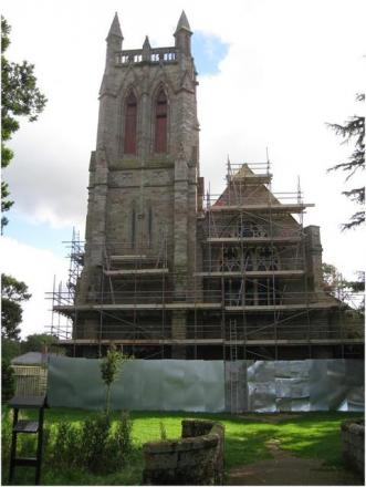 Celebrations: The scaffolding surrounding All Saints Church has been coming down, to reveal the completion of restoration work. Ref:s